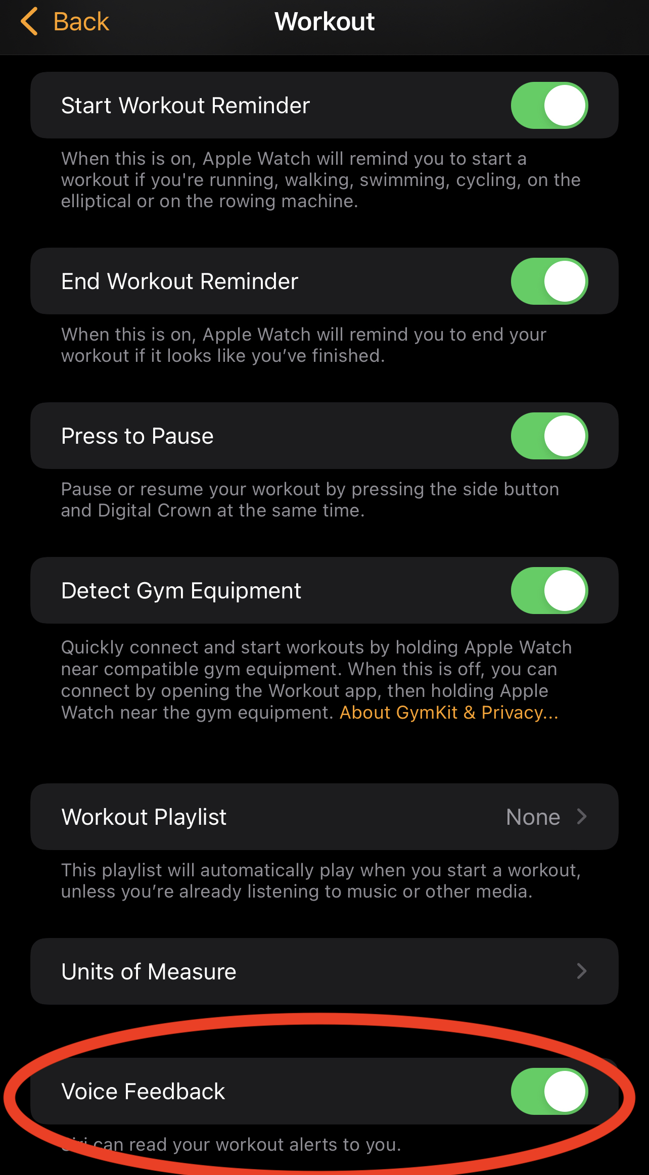 turn off voice feedback iPhone