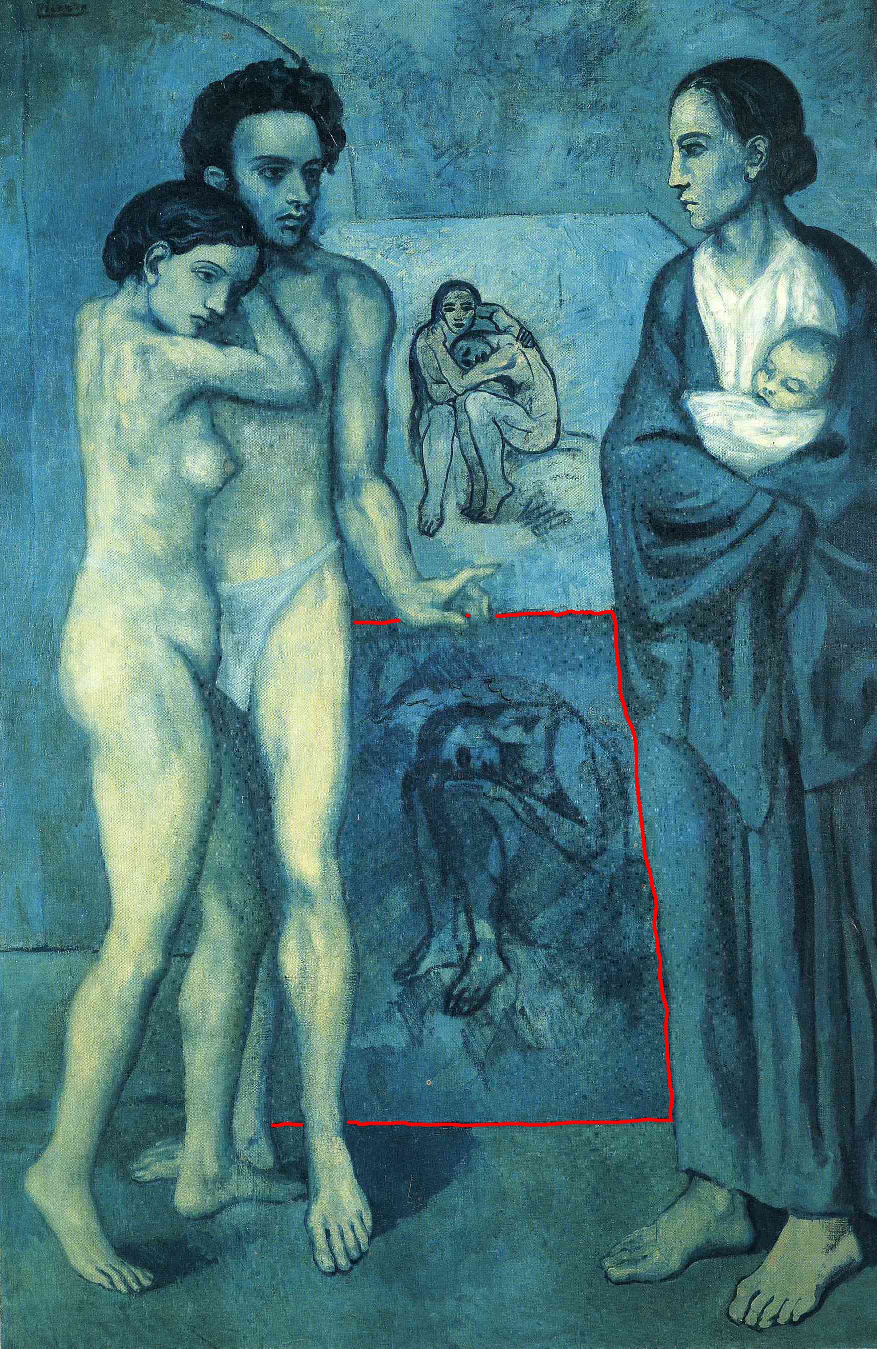 It appears unfinished in the background of Picasso's La Vie.