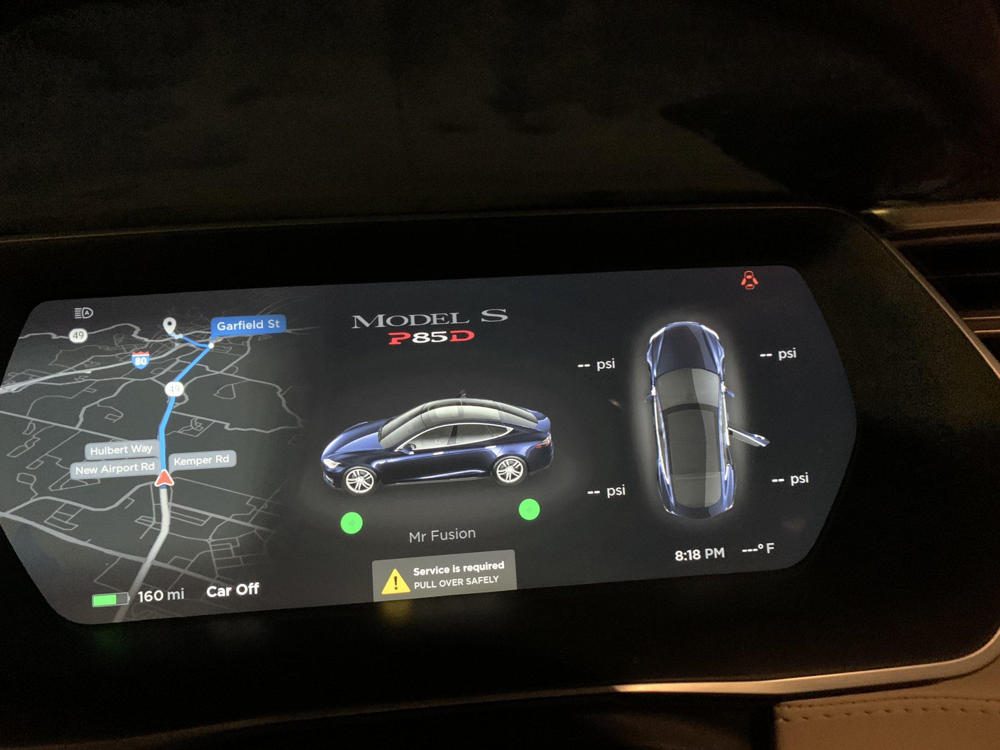 Tesla model S dashboard warning message