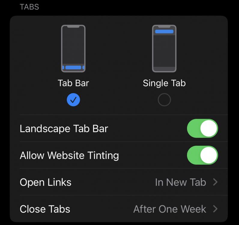 Changing Safari's tab layout in iOS 15