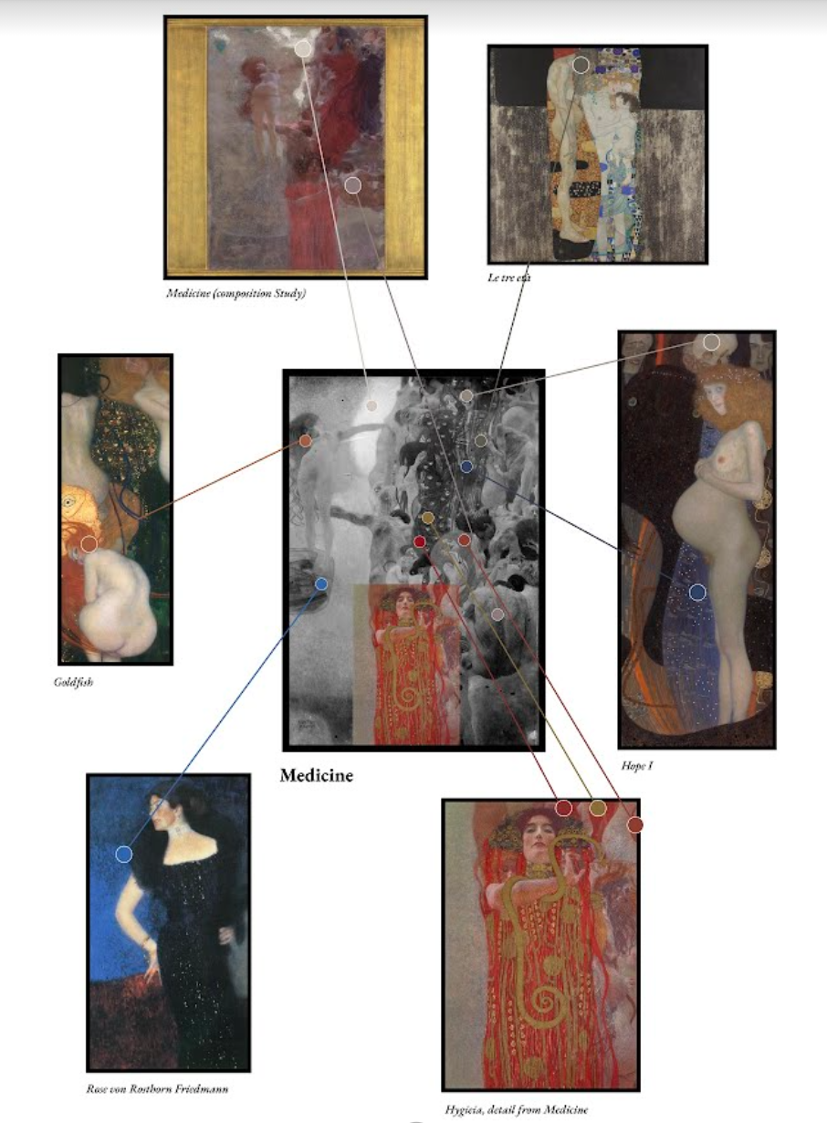 Colors from surviving artworks were matched to sections of the Faculty Paintings. Credit: Google.
